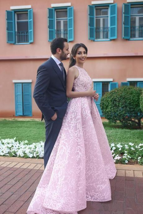 Arabic Pink Lace Prom Dresses Long 2019 Detachable Train Special Occasion Dress Custom Formal Party Gowns
