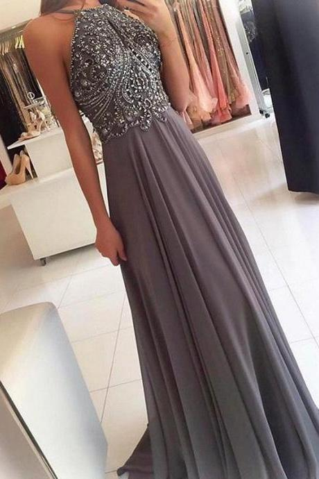 Beaded Crystal Prom Dresses,Prom Dress 2019,Chiffon Prom Dress,Formal Dress,Evening Gowns