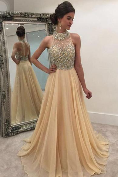 Modest Beaded Prom Dresses Long,Prom Dress 2019,Evening Gowns,Formal Dress