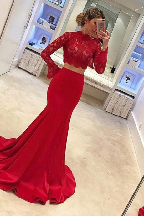 Red Prom Dresses,Two Piece Prom Dress,Long Sleeve Evening Gowns,Sweetheart 16 Dress,Formal Dress,Prom Dress 2019