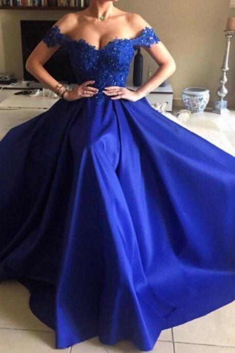 Royal Blue Prom Dress,Off The Shoulder Prom Dress,Evening Dress,Formal Gowns,Sweetheart 16 Dresses