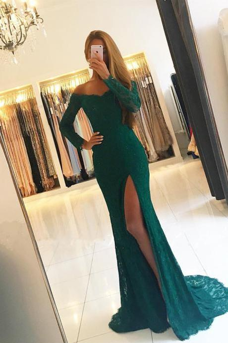 Long Sleeve Prom Dresses,Mermaid Lace Prom Dress,Evening Gowns,Formal Dress,Banquet Dress