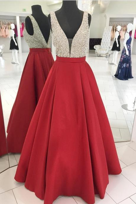 Red Prom Dresses,Beaded Crystal Prom Dress,Evening Dress,V Neck Prom Dress 2019,Banquet Dress