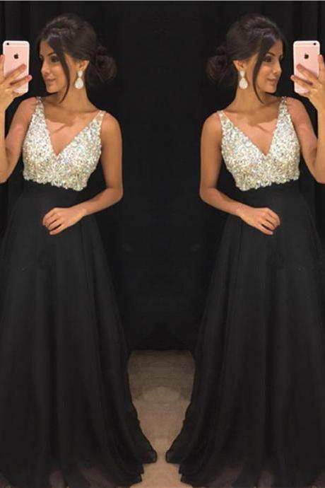 Black V Neck Prom Dress,Prom Dress 2019,Evening Dress,Formal Dress,Banquet Dress