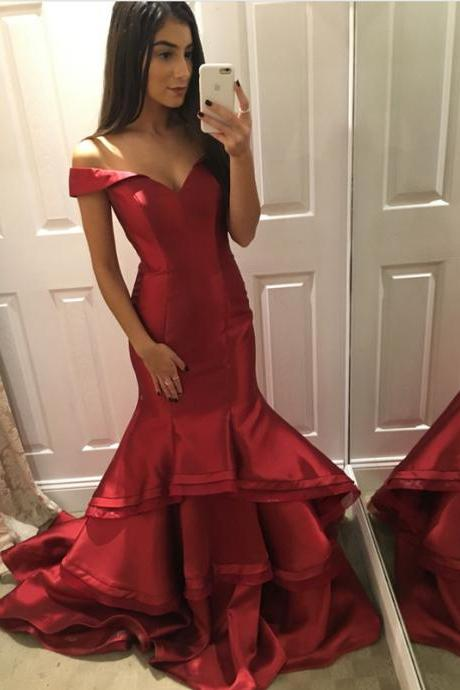 Dark Red Prom Dresses,Mermaid Prom Dress,Evening Gowns,Formal Dress,Sweetheart 16 Dress,Banquet Dress