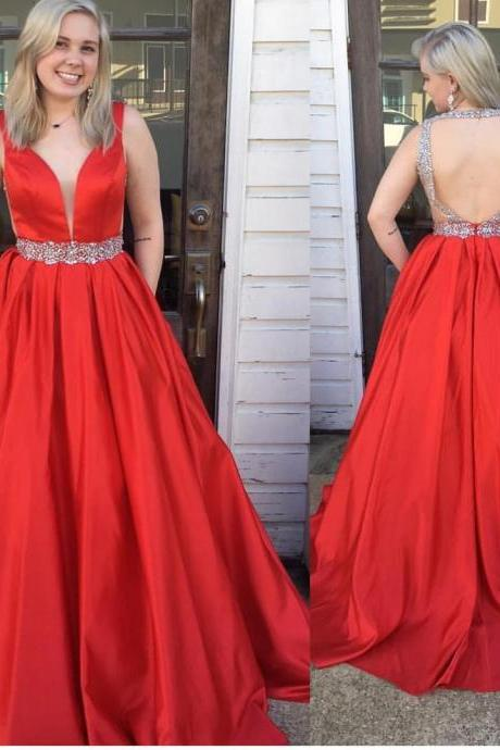 Red Prom Dresses,Backless Prom Dress,Evening Gowns,Formal Dress,Graduation Dress,Banquet Dress