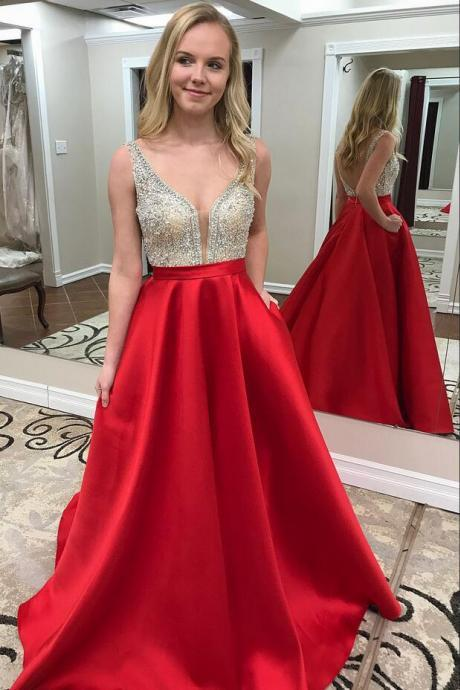 Beaded Crystal Prom Dresses,Prom Dress 2019,Evening Gowns,Graduation Dress,Formal Dress,Banquet Dress