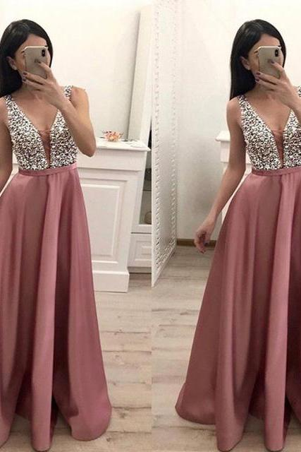 Sexy Deep V Neck Prom Dresses Long 2019 A Line Beaded Crystal Evening Gowns Formal Dress