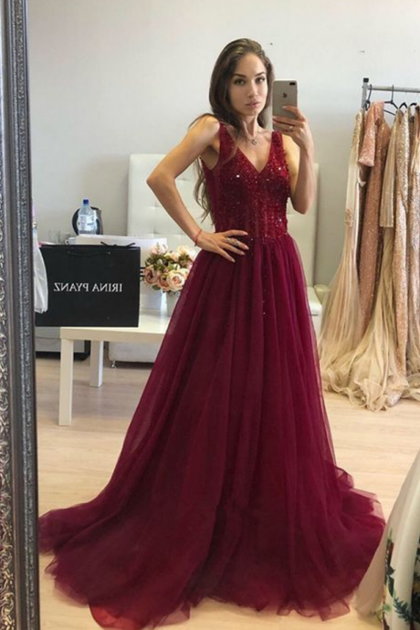 Burgundy Bling Bling V Neck Prom Dresses Long 2019 A Line Tulle Formal Women Evening Gowns Special Occasion Dress