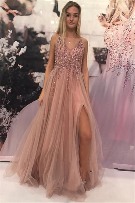 Beaded Crystal Prom Dress,V Neck Prom Dress,Side Split Evening Gowns,Formal Women Dress,Prom Dresses 2019