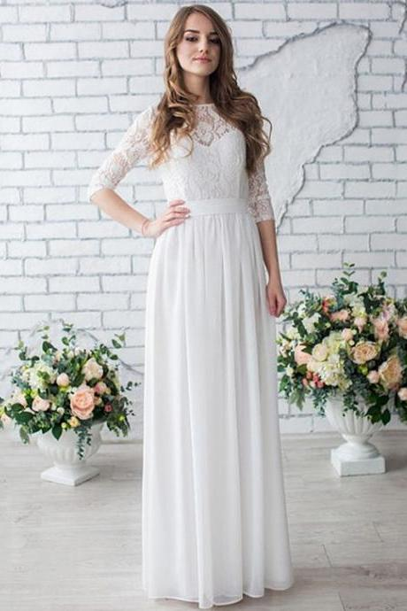 Cheap Wedding Dress,Wedding Dress With Sleeves,A Line Chiffon Bridal Gowns,Western Bridal Dress,robe de mariee
