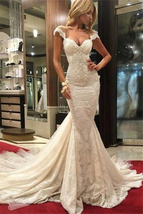 Vintage Mermaid Wedding Dresses,Lace Wedding Dress,Illusion Bridal Gowns,Handmade Wedding Gowns,robe de mariee