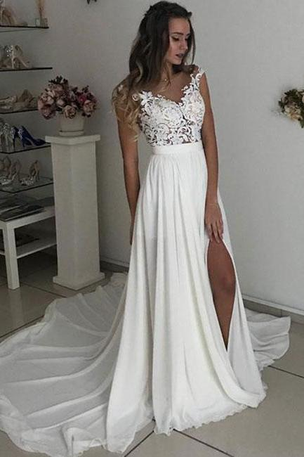 Modest Lace Chiffon Wedding Dresses,Sheer Wedding Dress,Handmade Bridal Gowns,robe de mariee,A Line Wedding Dress 2019