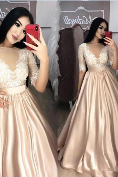 Champagne Prom Dresses,Long Sleeve Prom Dress,Evening Gowns,Formal Dress,Banquet Dress,Pageant Gowns