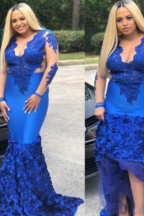 Plus Size Prom Dresses,Mermaid Prom Dress,Long Sleeve Prom Dress,Evening Gowns,Formal Dress,Special Occasion Dress