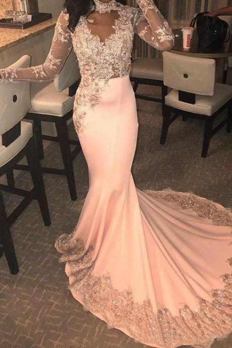 Long Sleeve Prom Dress,Mermaid Prom Dress,Evening Gowns,Formal Dress,Black Girl Prom Dress,African Prom Dress