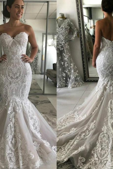 Vintage Mermaid Wedding Dresses,Lace Wedding Dress 2020,Sweetheart Wedding Gowns,Handmade Bridal Dress