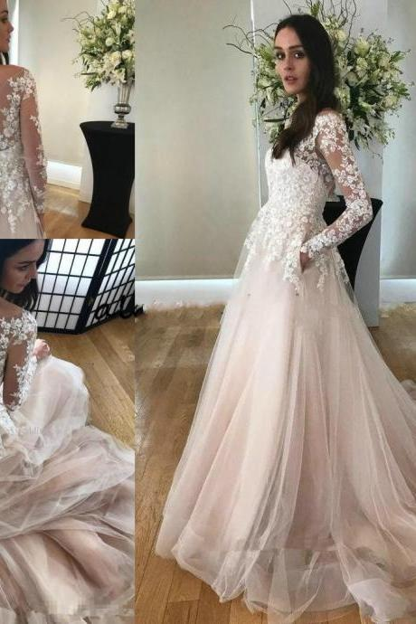 Champagne Lace Wedding Dresses,A Line Wedding Gowns,Long Sleeve Bridal Dress,Wedding Dress 2020