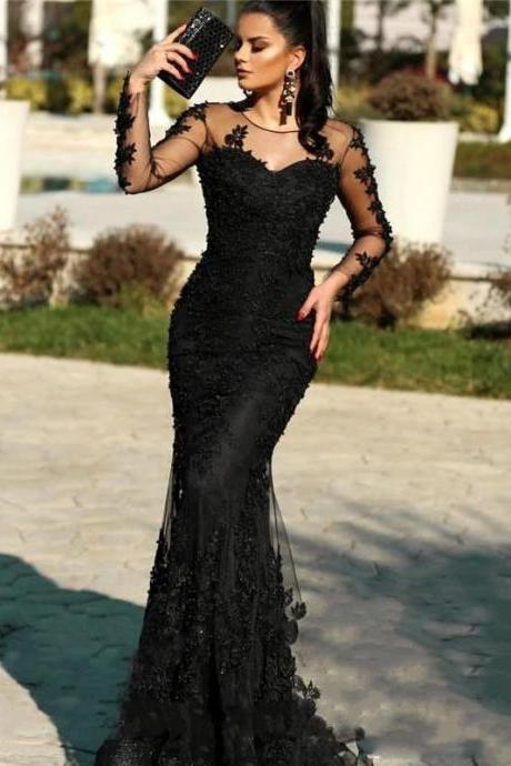 Black Lace Prom Dresses,Mermaid Prom Dress 2020,Long Sleeve Evening Gowns,Sheer Formal Party Dress