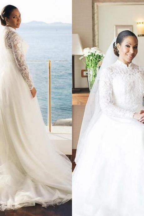 Vintage Long Sleeve Wedding Dresses,Lace Wedding Gowns,A Line Bridal Dress,Wedding Dress 2020