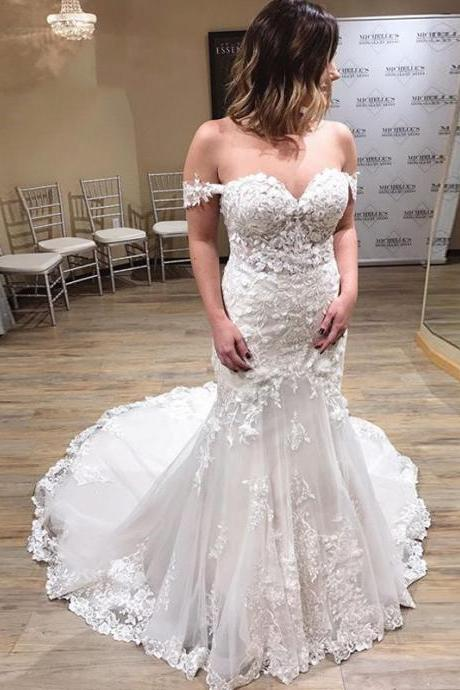 New Arrival Lace Wedding Dresses,Mermaid Wedding Dresses,Off The Shoulder Wedding Gowns,Handmade Bridal Dress
