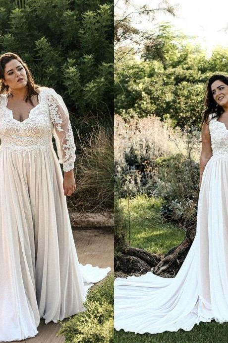 Plus Size Wedding Dresses,Long Sleeve Wedding Dress 2020,A Line Bridal Dress,Handmade Lace Wedding Gowns