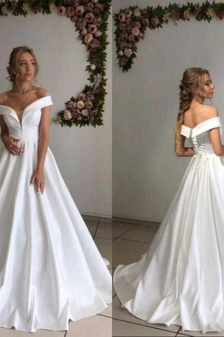 Cheap Satin Wedding Dresses,Off The Shoulder Wedding Dress,A Line Wedding Gowns,Bridal Dress 2020