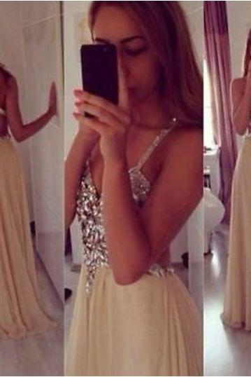 Champagne long prom dress,beading chiffon long evening dress,champagne formal women dress,wedding party dress 2016