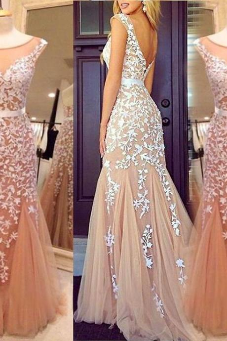 New champagne tulle long evening dress,mermaid champagne formal women dress,wedding party dress,long prom dress,Lace women dress