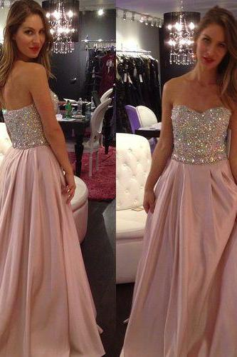 Strapless Beading Floor Length A Line Prom Dress,Long Evening Formal Dress,Party Dress ,Sweetheart Prom Dress New 2016