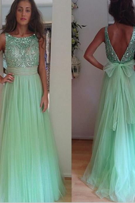 Mint Green long prom dress,beading tulle prom dresses,formal women dress,long evening dress 2016