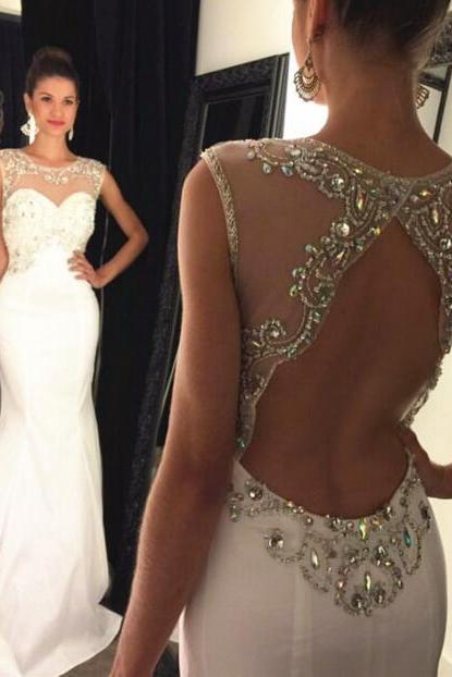 White prom dress,long prom dress,handmade beading chiffon mermaid women dress,evening dress 2016