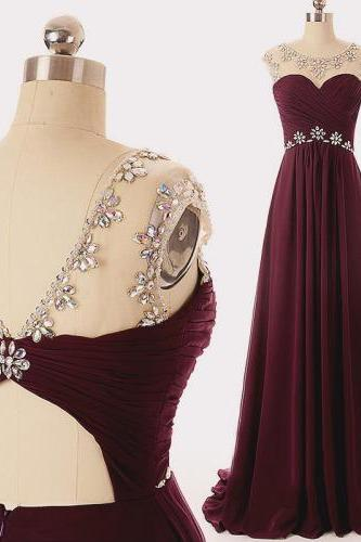 Maroon Cap-Sleeved Chiffon Floor-length Dress with Sheer Beaded Upper Bodice and Keyhole Back