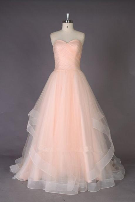 Lovely Light Pink Handmade Tulle Sweetheart Prom Gown,prom dress,formal women dress, Prom Gowns 2016, Formal Dresses 2016