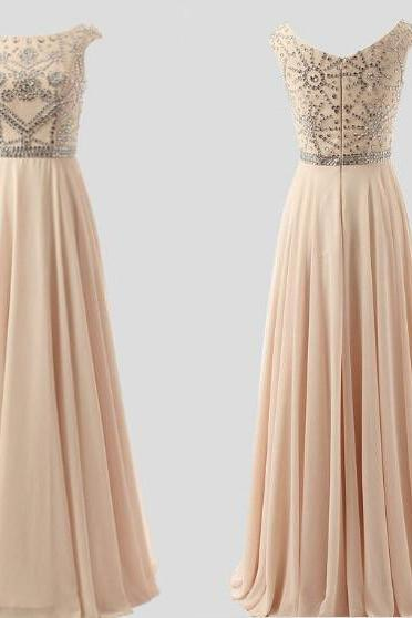 Prom Dresses 2016, Evening Gowns 2016,Light Pink A-Line Long Prom Dresses With Beadings,Champagne Prom Dress,Formal Women Dress