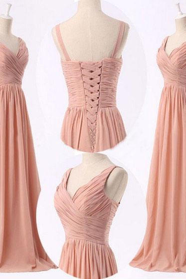 2016 Handmade Simple Peach Pink Bridesmaid Dresses, Peach Pink Prom Dresses, Long Bridesmaid Dresses,Formal Women Dress,Evening Dress,Wedding Party Dress