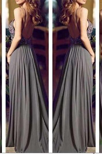 2016 Prom Dress,Halter Prom Dress,Custom Made Prom Dress, Gray Prom Dress,Long Prom Dresses, Straps Prom Dress,,Beaded Prom Dress,, Cheap Prom Dresses, 2016 Prom Dress,Handmade Prom Dress,Custom Made Prom Dress,Backless Prom Dress,Sleeveless Prom Dress