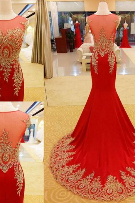 Red cap sleeve long prom dress,sexy mermaid prom dress,formal women dress red,2016 prom gown