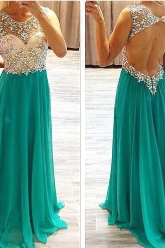 Sexy open back long prom dress,beading prom dress,cap sleeve prom dress,foemal women dress,a-line prom gown