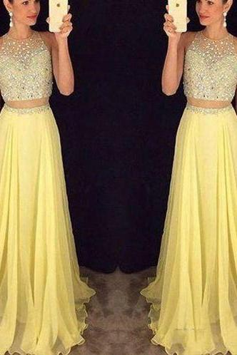 2016 New Two pieces prom dress, sexy long evening dress,handmade tulle long prom dress, formal women evening dress