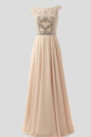 A-Line Long Prom Dresses With Beadings, Prom Dresses 2016, Evening Gowns 2016,Formal Women Dress