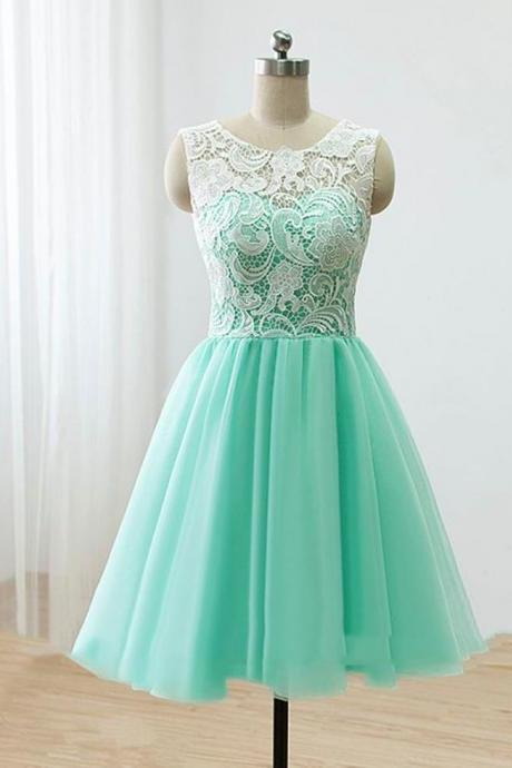 Love Handmade Short Mint Chiffon Prom Dress With Lace, Homecoming Dresses, Short Prom Dresses 2016