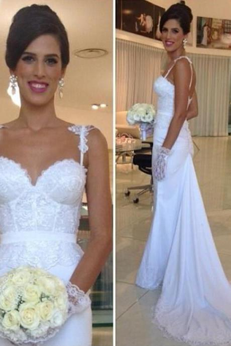 Spaghetti Straps Lace Appliqués Mermaid Wedding Dress with Court Train