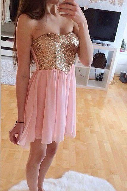Sexy A-Line Short Pink Chiffon With Sequins, Short Prom Dresses, Homecoming Dresses, Graduation Dresses,2017 Prom Dress