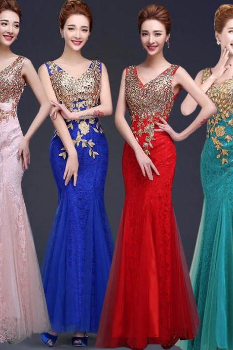 2016 Sexy V-neck Long Evening Dress, Mermaid Evening Dress,Lace Evening Dress,Sexy Evening Dress,Women Dress