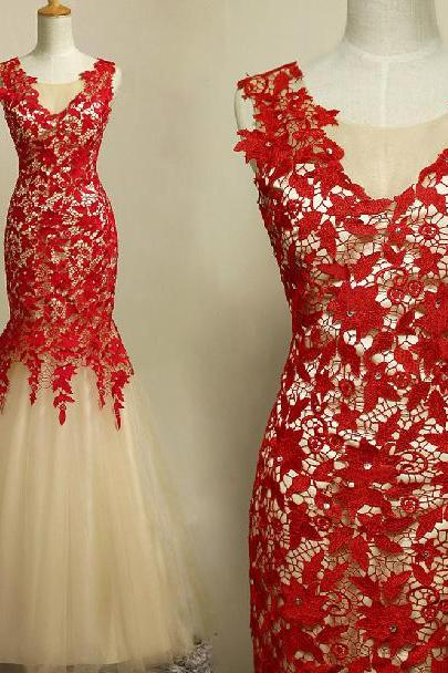 Sexy Mermaid Lace Prom Dress,Lace Women Evening Dress,Formal Gown Red Prom Dress 2017