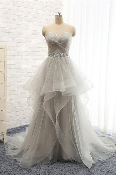 Strapless Sweetheart A-Line Peplum Tulle Prom Dress in Gray