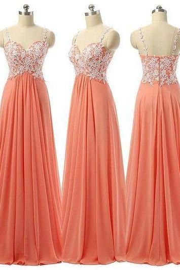 Coral Prom Dress 2017,Sexy Straps Appliqued Chiffon Prom Gown,Formal Evening Gown