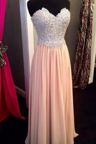 2017 New Sweetheart Beading Chiffon Long Prom Dress,Handmade Formal Evening Dress For Women