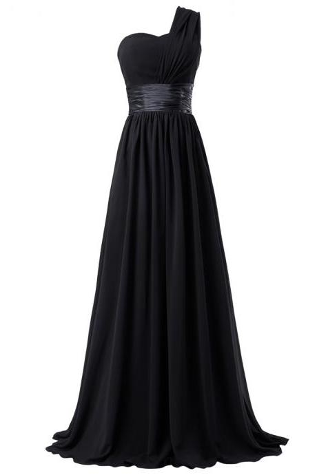 Simple Long A Line One Shoulder Chiffon Prom Dresses ,Formal Evening/Party Dresses